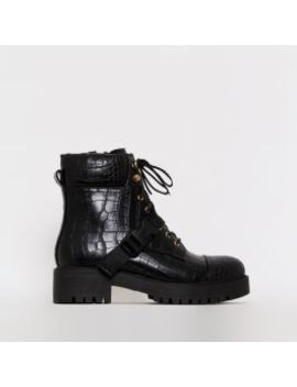 Tamsin Black Croc Print Lace Up Flat Ankle Boots by Simmigirl