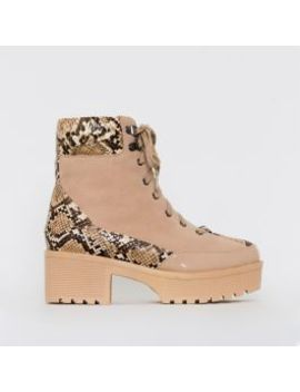 Karmen Beige Snake Print Lace Up Hiking Ankle Boots by Simmigirl