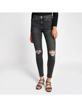 Grey Amelie Super Skinny Ripped Jeans by River Island