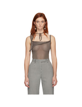 Taupe Knit Ivo Tank Top by Maryam Nassir Zadeh