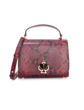 Medium Nicola Twistlock Python Embossed Leather Top Handle Bag by Kate Spade New York