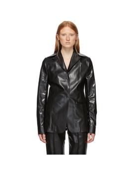 Black Rubberized Workwear Blazer by Kwaidan Editions