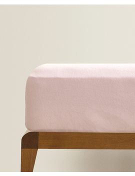 Pink Linen Fitted Sheet  Fitted Sheets   Bed Linen   Bedroom by Zara Home