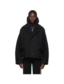 Black Knit Hooded Jacket by Y 3