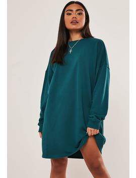 Teal Oversized Basic Loopback Sweater Dress by Missguided