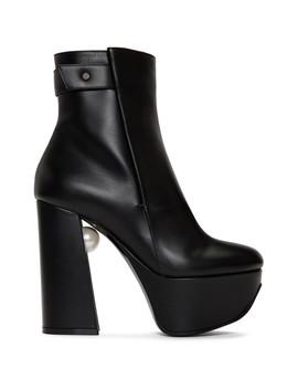 Black Leather Miri Platform Boots by Nicholas Kirkwood