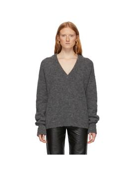 Grey Alpaca Airy V Neck Sweater by Tibi