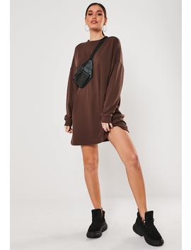 Brown Oversized Basic Loopback Sweater Dress by Missguided