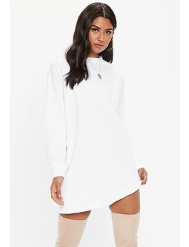 White Oversized Basic Loopback Sweater Dress by Missguided
