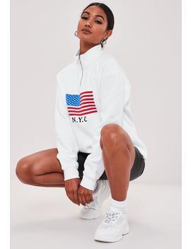 White Nyc American Flag Zip Sweatshirt by Missguided