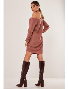 Rose Off The Shoulder Sweater Dress by Missguided