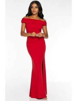 Petite Red Bardot Split Maxi Dress by Quiz