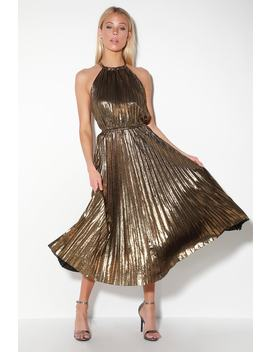 Christina Gold Pleated Halter Midi Dress by Lulu's