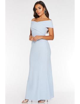 Petite Light Blue Cross Strap Bardot Fishtail Maxi Dress by Quiz