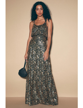 In Awe Black And Gold Sequin Maxi Dress by Lulus