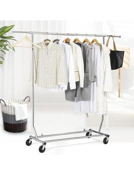 Heavy Duty Commercial Garment Rack Rolling Collapsible Clothing Shelf Chrome by Smile Mart