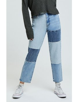Pac Sun Patch On Blue Mom Jeans by Pacsun