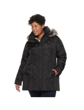 Plus Size Tower By London Fog Hooded Faux Fur Down Puffer Coat by London Fog