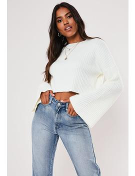 White Rib Crew Neck Flare Sleeve Sweater by Missguided