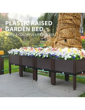 Plastic Raised Garden Bed Planter Kit Brown Set Of 4 by Vh
