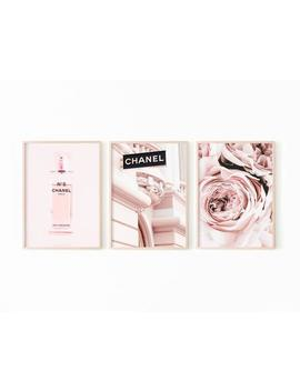 Coco Chanel Print, Peony Wall Art, Chanel Print Perfume, Chanel Wall Art Set Of 3, Fashion Print Digital Download,Coco Chanel Wall Art Large by Etsy