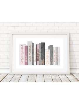 Blush, Pink, Rose Gold, Grey, Books, Book Art, Fashion, Illustration, Sketch, Amanda Greenwood Art, Watercolor, Wall Art, Make Up, Bedroom by Etsy