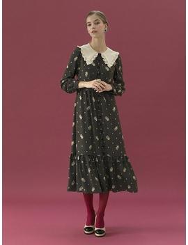 Ruffle Big Collar Vintage Dress 2 Color by Debb