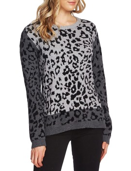 Leopard Jacquard Cotton Blend Sweater by Vince Camuto