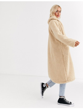 Brave Soul Heavenly Long Coat In Borg by Asos