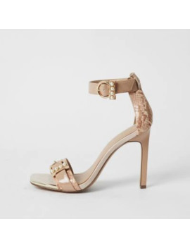 Pink Pearl Buckle Strap Barely There Sandals by River Island