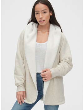 Sherpa Lined Open Front Hoodie In French Terry by Gap