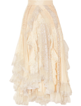 Sabotage Asymmetric Ruffled Metallic Lace, Tulle And Crepe Skirt by Zimmermann