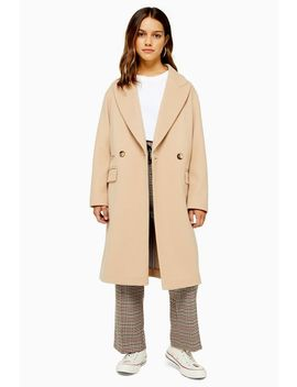 Petite Camel Double Breasted Coat by Topshop