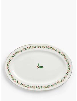 John Lewis & Partners Holly Oval Turkey Platter, 40cm, White/Multi by John Lewis & Partners