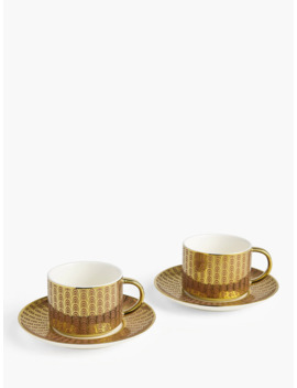 John Lewis & Partners The Arts Tea Cups & Saucers, Set Of 2, 220ml, Pink/Gold by John Lewis & Partners