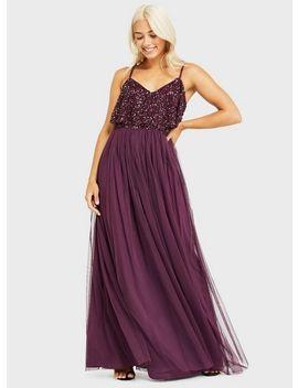 Petite Burgundy Double Layer Embellished Maxi Dress by Miss Selfridge