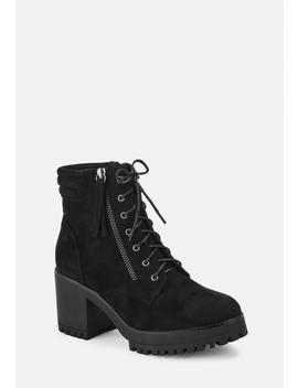 Black Faux Suede Mid Heel Cleated Sole Ankle Boots by Missguided