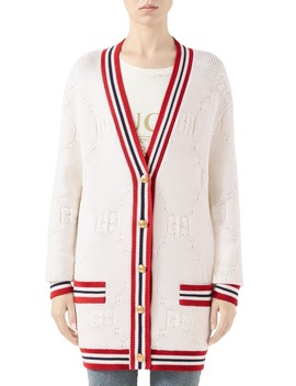 Gg Logo Embossed Long Cardigan by Gucci
