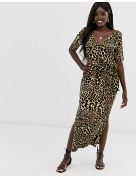 Asos Design Maxi Dress With Belt In Animal Print by Asos Design