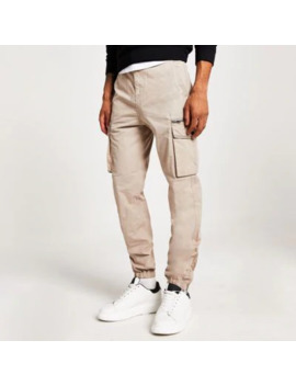 Stone Cargo Trousers by River Island