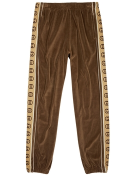 Brown Monogram Trimmed Velour Sweatpants by Gucci