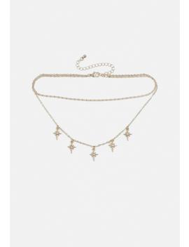 Gold Look Star Diamante Choker Necklace by Missguided