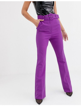 Asos Design Pop Purple Slim Kick Flare Pants With Covered Belt by Asos Design