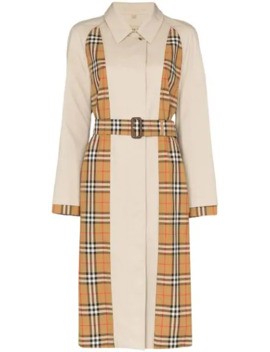 Panelled Checked Trench Coat by Burberry