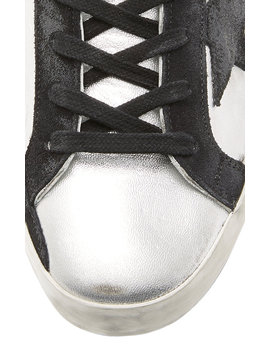 Superstar Distressed Two Tone Leather And Suede Sneakers by Golden Goose