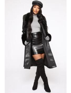 She's An Independent Woman Pu Leather Coat   Black by Fashion Nova