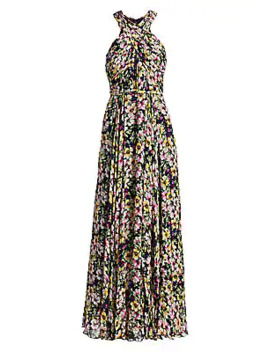 Floral Georgette Pleated Maxi Dress by Ml Monique Lhuillier