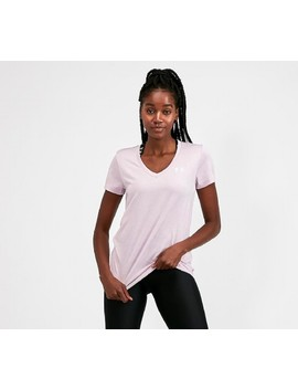 Womens Tech Twist V Neck T Shirt | Fog Pink by Under Armour
