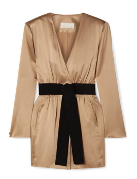 Belted Silk Satin Mini Dress by Fleur Du Mal