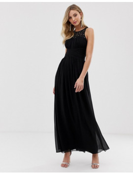 Little Mistress Embellished Uple And Lace Covered Back Maxi Dress by Little Mistress'